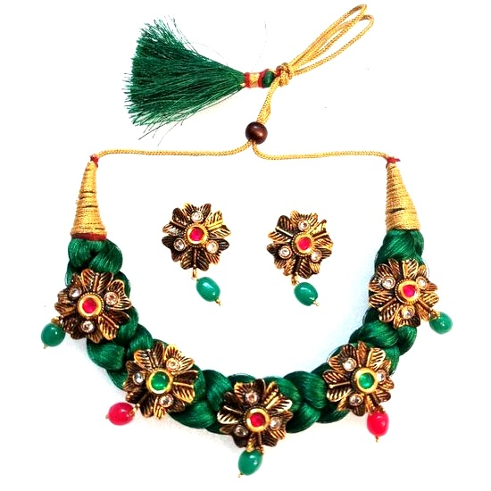 jaypore at online thread silver cotton com green metal necklace red buy
